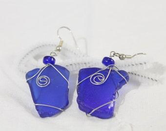 Blue Sea Glass Dangle Fashion Earrings -  Pierced