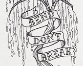 Bend Don't Break Tree Embroidered Flour Sack Hand/Dish Towel
