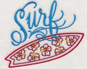 Surf Embroidered Flour Sack Hand/Dish Towel