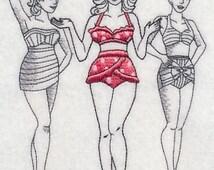 Retro Bikini Fashion Swimwear Embroidered Flour Sack Hand/Dish Towel