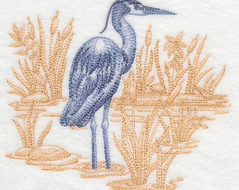 Great Blue Heron Embroidered Flour Sack Hand/Dish Towel