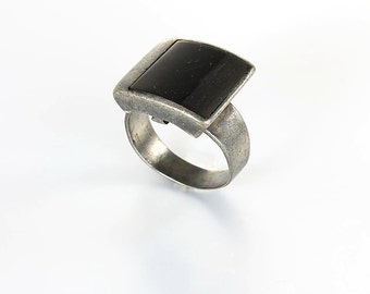 Mens Onyx Ring, Sterling silver Oxidized, Size 9 Vintage Modernist Mens Nordic jewelry, Signed Otta