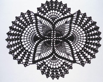 Black crochet doily , black doily , oval doilies , lace , home decor