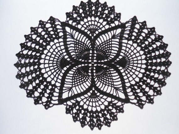Black Crochet Doily Black Doily Oval Doilies Lace Home