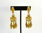 Vintage Boho Gold Tone Tiered Tribal Dangle Earrings, Ethnic Statement Jewelry