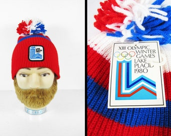 NOS Deadstock 1980 Olympics Knit Hat USA Winter Cap Red White and Blue Lake Placid New York