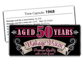 Set of 12 - Vintage Vixen 50th Birthday Candy Bar Wrappers - Adult Milestone Favors - 20th, 30th, 40th, 50th, 60th, 70th - Any Age