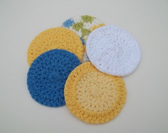 5 Cotton Face Rounds - Blue, Green, Yellow and White