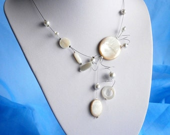 Ivory Necklace, Bridal Necklace, Illusion Necklace , Shell necklace, Stylish Fashion necklace