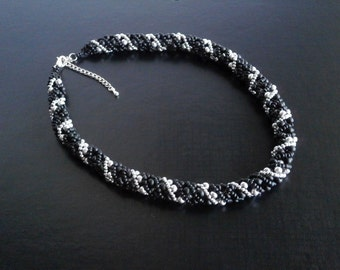 Beads rope necklace, Silver Black Necklace, Statement necklace, Seed Beads Beaded Necklace, Beadwork Necklace