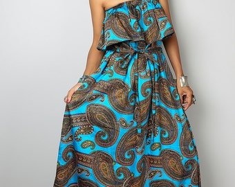 Summer Maxi Dress - Bohemian Paisley Ruffle Halter Dress: Sunny Dreams Collection No.4