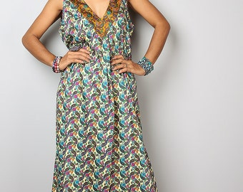 Paisley Maxi Dress / Boho Cotton Floral Dress : Kiss of the Sun Collection No. 2