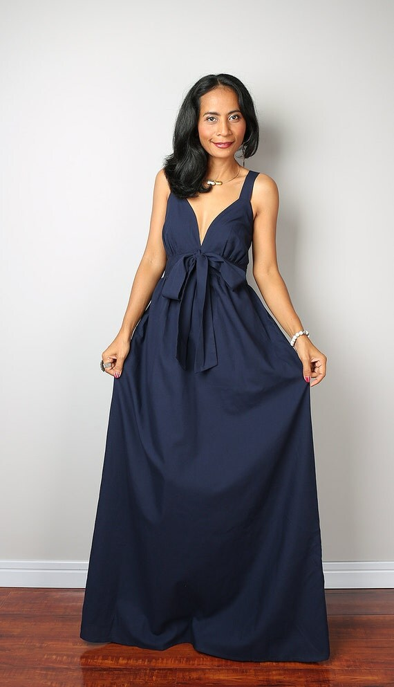 Navy blue maxi dress elegant v styled neck long bridesmaid for Navy blue maxi dress for wedding