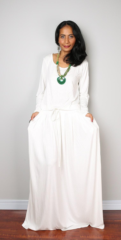 Off-White Maxi Dress Long Sleeve dress : Autumn Thrills