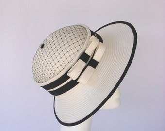 Dry Martini - Cloche summer hat  straw  and black parasisal style vintage 1920' 1930'