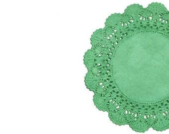 Kelly Green Lace Paper Doilies |  Lace Paper Doilies Tea Party Round Doilies | Irish Party Decor Wedding Doilies decoration -  Irish Wedding