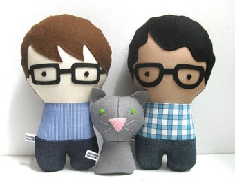 Handmade Personalized Family with Dog. Plush doll. Custom your own family. Customize.