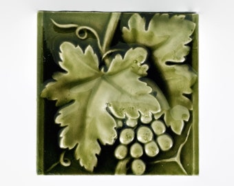 Antique 19th century American Encaustic Tiling Company High Relief Art Tile with Grape Leaf Motif