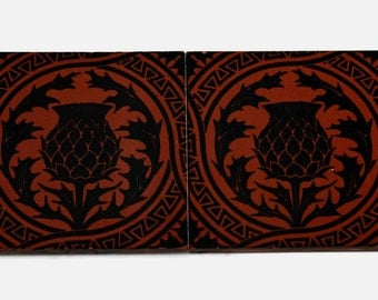 Antique 19th century Mintons China Works Wall Tiles with Thistle Motif - Set of 2