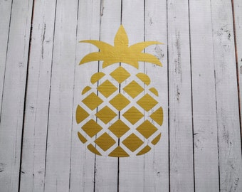 Vinyl Wall Decal Gold Pineapple