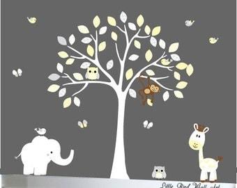 Tree wall decals nursery tree wall decal owls birds elephant giraffe monkey