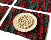 Christmas Placemats Scarlet Red Black Bright Green Modern Country Artisan Knitted Upcycled TShirts (set of 4)-- US Shipping Included