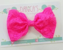 New { the Adeline } Neon pink lace bow clip . Newborn, toddler, child, teen, adult