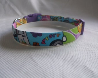 Handmade Cotton Dog Collar - Peace, Love and Happiness