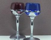 Sale Wine Glasses Stems Colored Glass Chrome  Farber Bros Vintage 1930s Barware