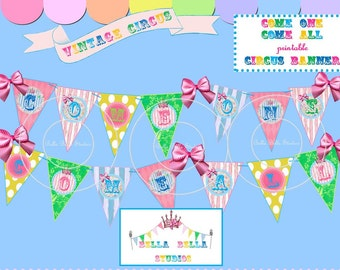 CIRCUS BANNER ~ BUNTING ~ Printable Instant Download