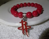 Rockets Charm-Clutch City-Houston-Red Pearls- Beaded Stretch Bracelet  (374)