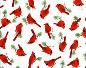 Bird Watching - White Mini Cardinals from Timeless Treasures
