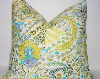 NEW Waverly Lemon Meringue Peacock Yellow Grey Floral Print Pillow Cover Decorative Throw Pillow Cover 18x18