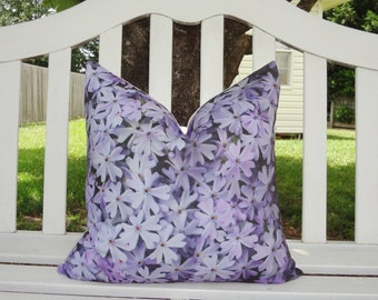 OUTDOOR Decorative Photography Pillow Cover Purple Flowers Pillow Cover Throw Pillow Cover Size 18x18