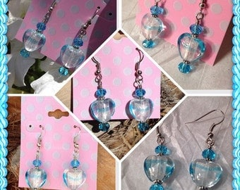 Heart Earrings Foiled Glass Frosty Cool Swim Ice Blue Water Dangle