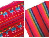 Red Mexican Fabric Bundle - Two Half Yards - Aztec Tribal Cambaya - Wedding and Home Decor Material by the Yard