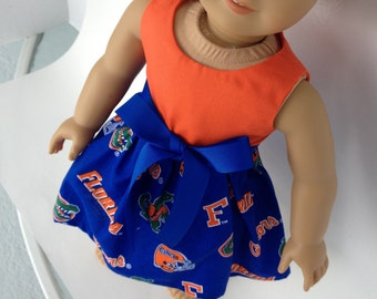 18 inch Doll Game Day Dress of  University of Florida toss fabric/orange top,  made to fit  American Girl and similar 18 inch dolls