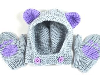 Bear Cub Hat and Paw Print Mittens Winter Set