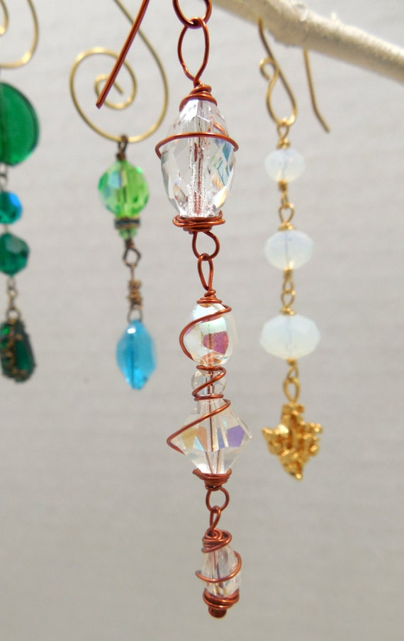 Vintage Crystals Wire Wrapped In Copper Wire Suncatcher Car