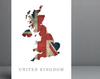 Flag Map of United Kingdom Print. 8x10 on A4 Archival Matte Paper