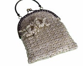 Crochet Evening Bag,Hand bag,wedding purse,bridesmaid purse,kiss lock clasp
