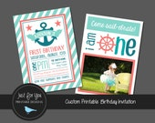 Nautical Birthday Invitation - Sailor, Navy, By the Sea, Anchor, Stars, Stripes - Double Sided - YOU PRINT (Digital File) Custom Printable
