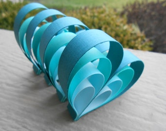 Teal Ombre Wedding Favor Hearts. Wedding Favor, Table Decoration.  ANY COLOR Available. Paper Decorations.