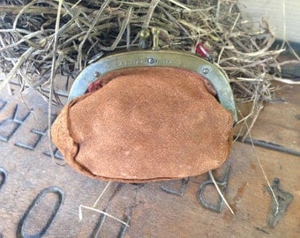 Vintage Coin Purse - Very Old Suede / Leather Pouch - Vintage Sewing / Thimble