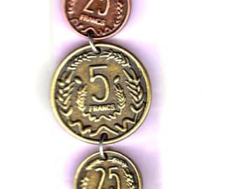 DESTASH Vintage Looking French Franc Coin Embellishment Chain