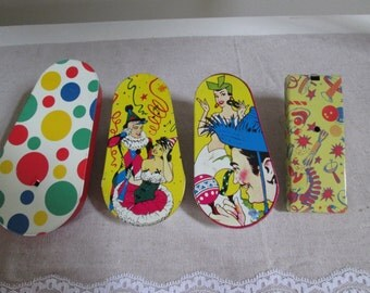 Party noisemakers tin litho party noisemakers vintage mid century party set dec movie prop bright graphics party fun
