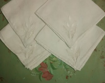 Antique Luncheon Napkins , Embroidered Lily , Set of 4