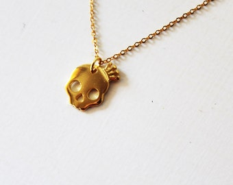 Gold skull necklace, Gold skull pendant, Small skull necklace, Halloween Skulls, Gold skull charm, Small skull pendant, Halloween jewelry