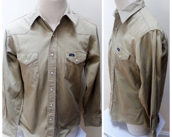 Vintage 80s Wrangler Tan Shirt - L/16