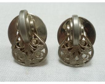 Vintage 1950s Silver Filigree Clip-On Earrings